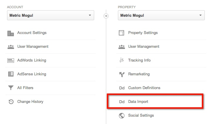 Google Analytics Data Import
