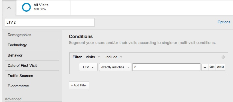 Customer lifetime value segment in Google Analyitcs