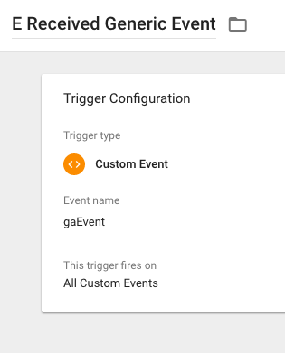 GTM received generic event trigger
