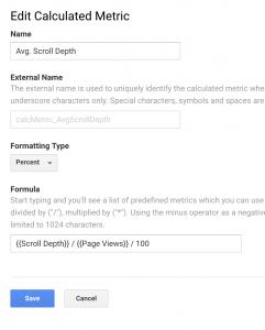 Average scroll depth calculated metrics settings