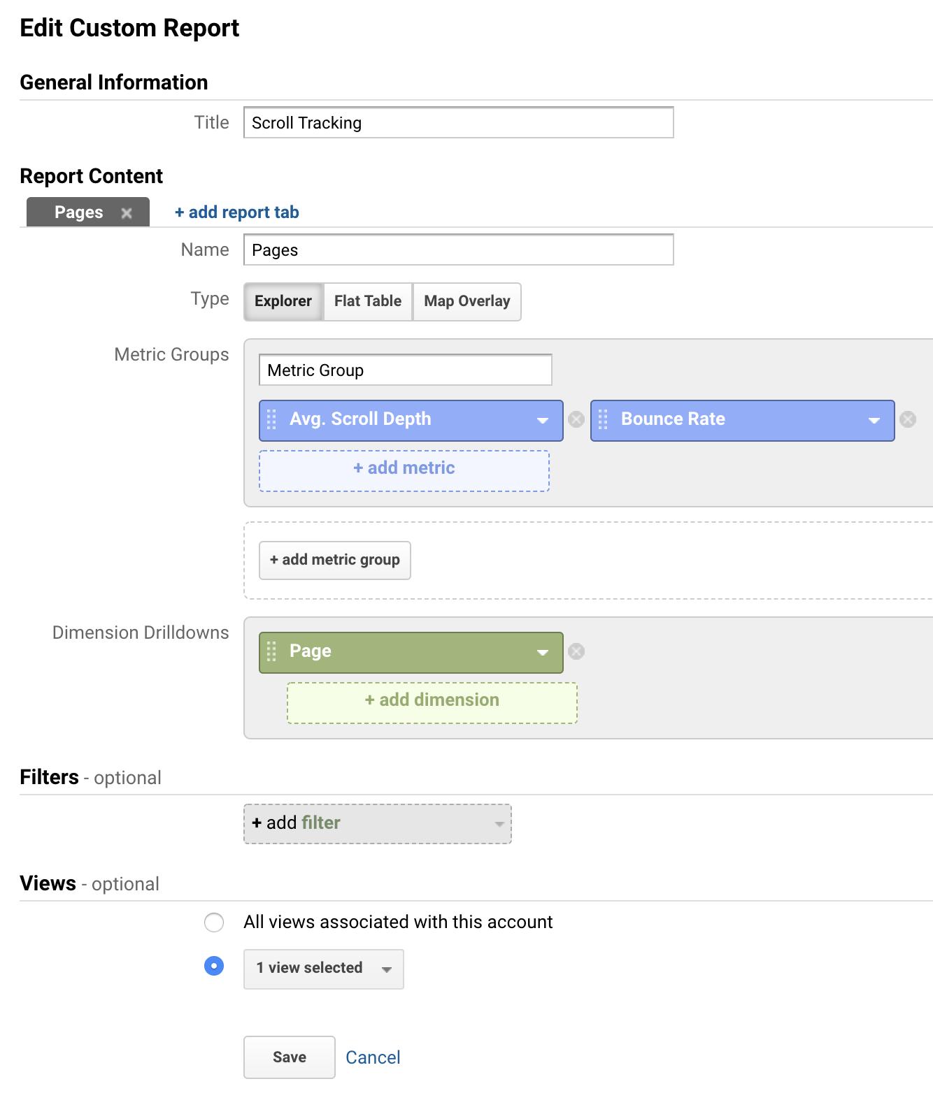 Scroll tracking custom report settings