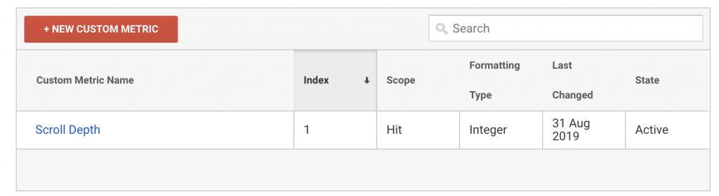 Scroll Tracking Custom Metrics